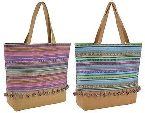 Design a Righe Tribale Spalla/Spiaggia/Shopping Bag Con Fodera