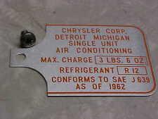 NOS MOPAR ORIGINAL A/C COMPRESSOR TAG  CHRYSLER  DODGE PLYMOUTH 63 64 65 66 67