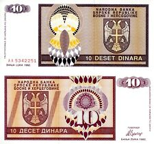 BOSNIA 1992 PACK:100 PCS XF-AU-UNC 10 DINARA NOTES PICK #10