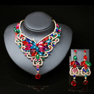 Fashion-Crystal-Necklace-Costume-Wedding-Jewelry-Sets-Brides-Prom-Party-Earring