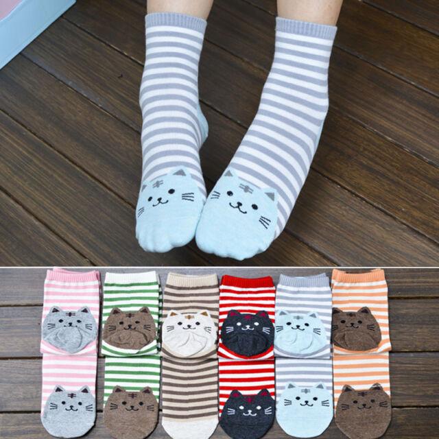 3D Animals Striped Cartoon Socks Cat Footprints Cotton Women Socks Floor