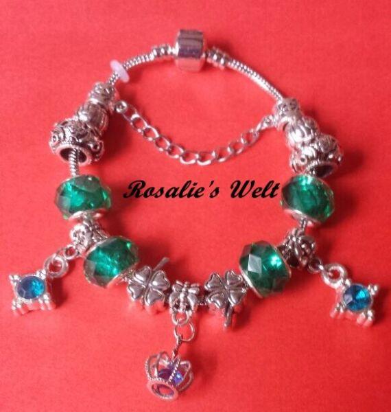 1 Damen Bettelarmband, Kristall, Versilber Schmuck, Neu