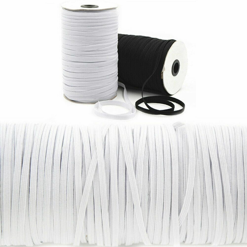 "100/200 Yards Braided Elastic Band Cord Knit Band Sewing DIY 1/4""/6mm Bulk Roll 2"