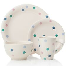 6 Multi-coloured Blue Spotted Stoneware Large Dinner Plates ONLY