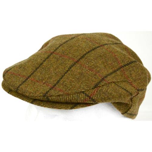 PURE 100/% WOOL FLAT CAP SHOOTING CAP MADE IN IRELAND TWEED HERRINGBONE