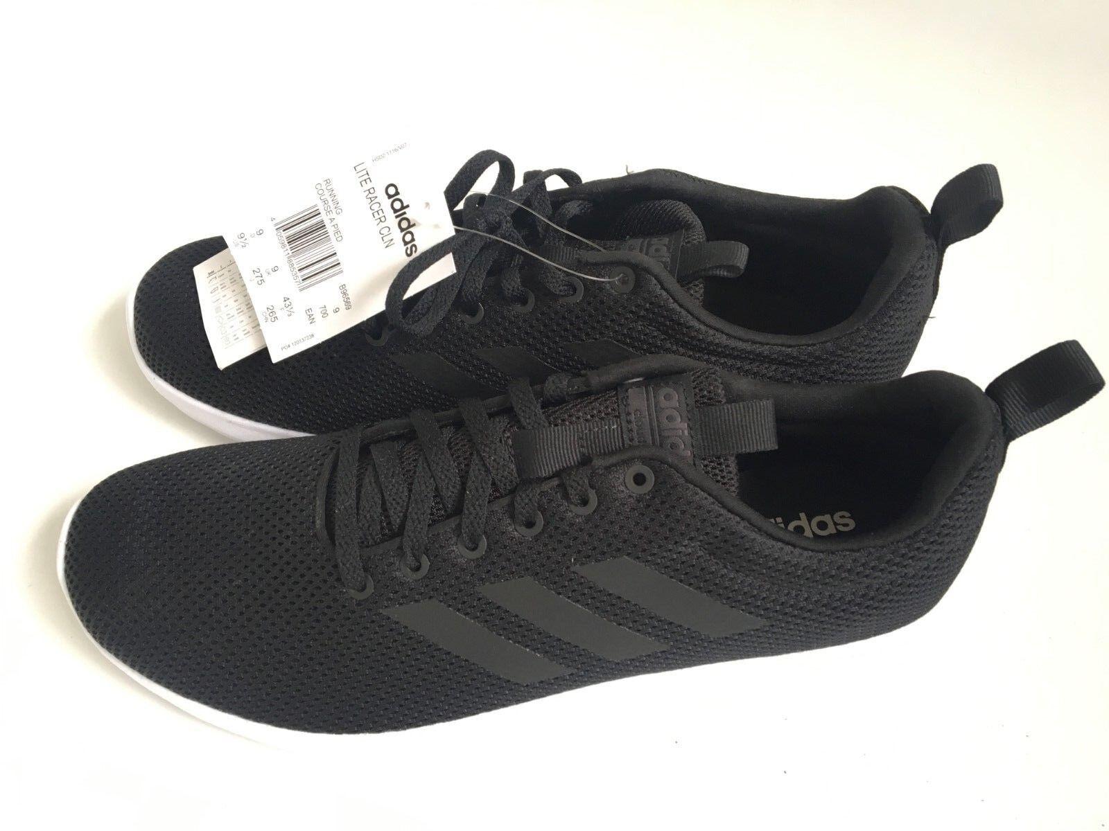 Adidas Lite Racer CLN Trainers - Size 9 - Black - Cloudfoam -B96569