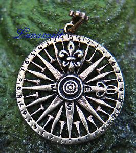 Details zu Windrose Mittelalterlicher Kompass Anhänger Bronze Gothic Schmuck