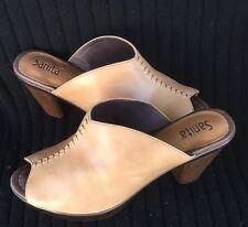 SANITA Wood Design Platform Open Peep Toe Leather Slide Clog Shoe 9.5- 10 Dansko