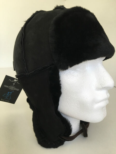 f3b98d9b415a0 Paul Smith Trapper Hat 100% SHEEPSKIN MAINLINE SIZE M Black with ear flaps