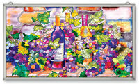 "AMIA STAINED GLASS WINE AND CHEESE 13"" X 23"" SUNCATCHER PANEL #9778"