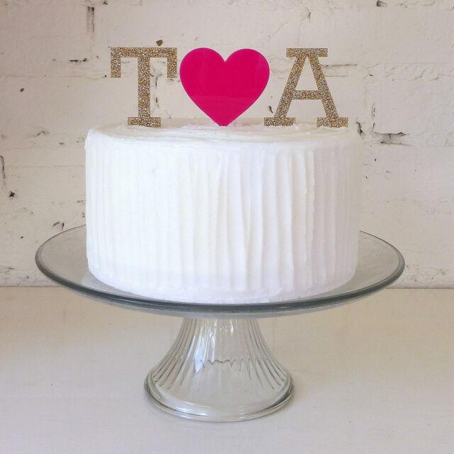 Personalised Monogram Cake Topper - Initial Heart Ampersand Letter Wedding Cakes