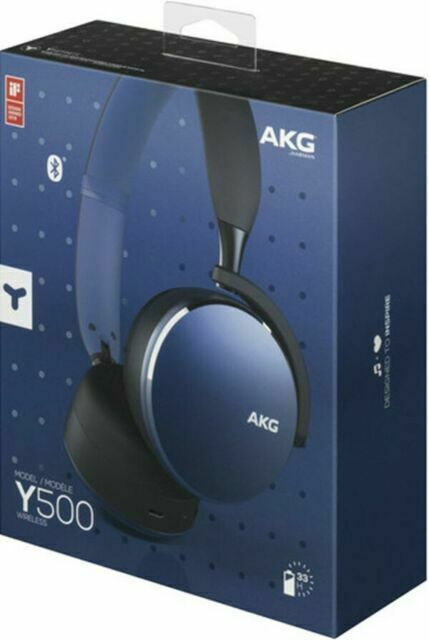 Akg Y500 Blue On Ear Foldable Wireless Bluetooth Headphones Direct From Samsung For Sale Online Ebay