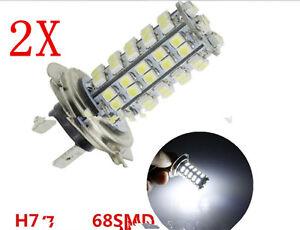 2-Lampara-Bombillas-H7-68-LED-3528-SMD-Luz-Blanca-Pura-Coche-DC-12V-calida