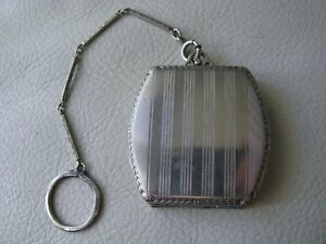 Antique-Silver-T-Watch-Fob-Bar-Chain-Finger-Ring-Purse-Dance-Compact-HFB-Co-NGE