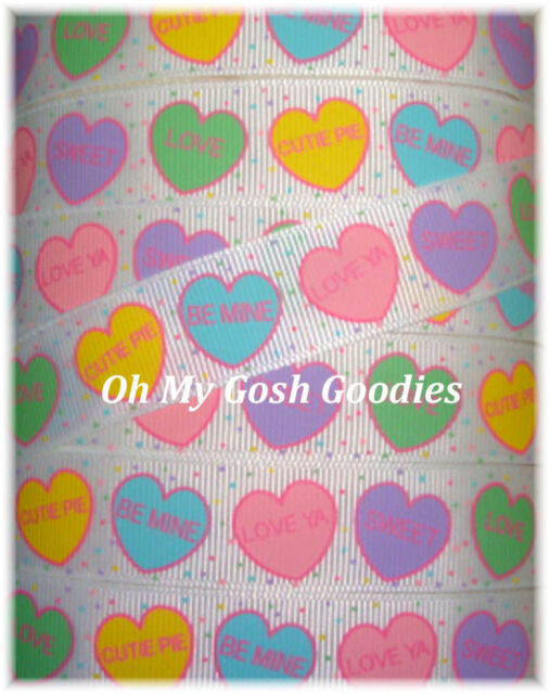 7/8 VALENTINE PASTEL CONVERSATION CANDY HEART GROSGRAIN RIBBON 4 HAIRBOW BOW