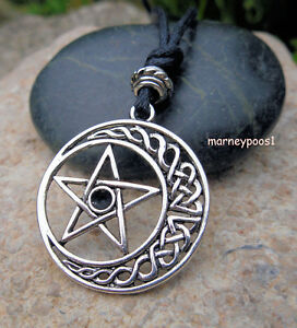 Pentacle celtic moon pendant necklace pentagram knot pagan wicca image is loading pentacle celtic moon pendant necklace pentagram knot pagan aloadofball Image collections