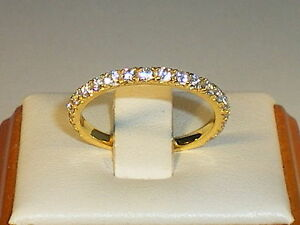 Ladies-925-Sterling-Silver-amp-18-Carat-Yellow-Gold-White-Sapphire-Eternity-Ring