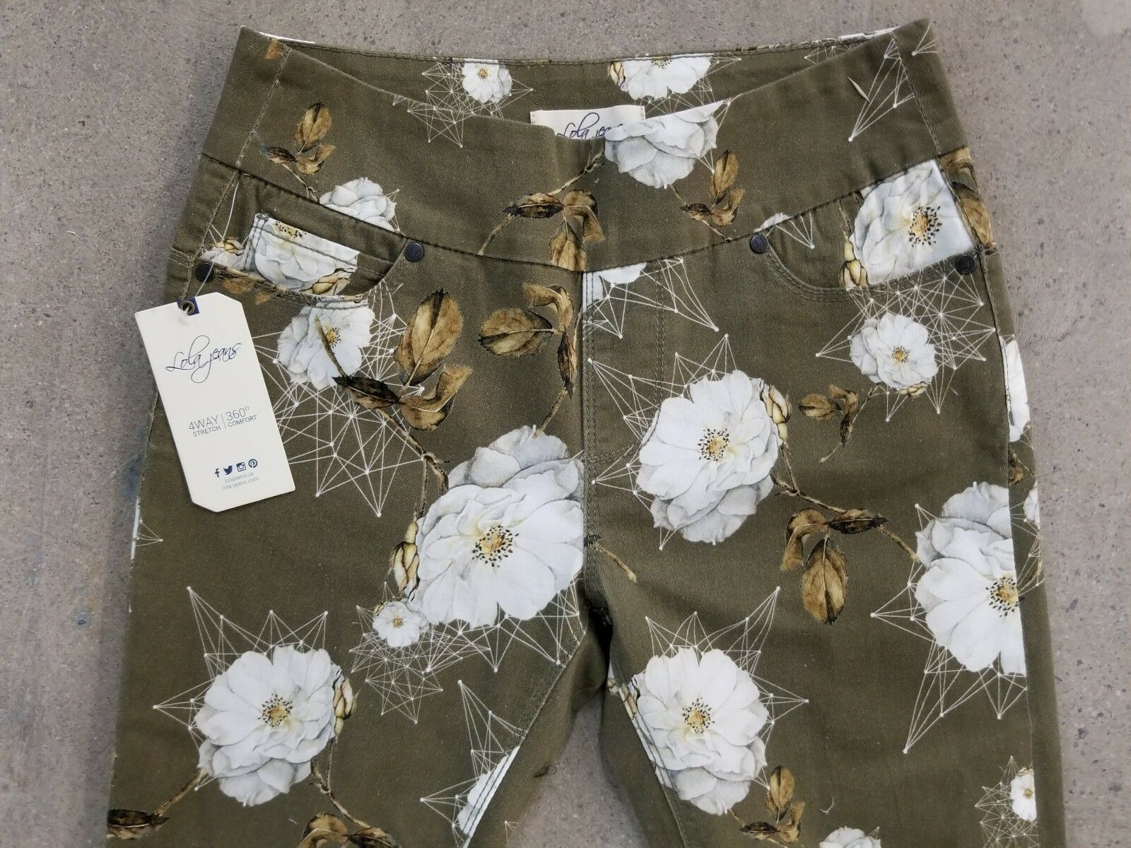 LOLA jeans mid rise pull on skinny printed floral ankle pants  size 2   27