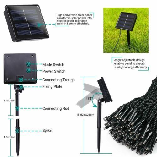 LED Solar String Lights Waterproof 5//10//20//50M Copper Wire Fairy Outdoor Garden