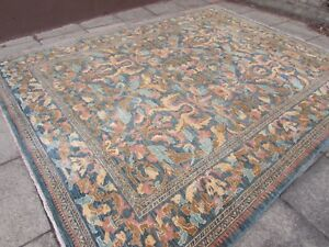 Traditional-Hand-Made-Rugs-Afghan-Zigler-Oriental-Wool-Blue-Carpet-366x283cm