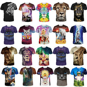 Women-Men-Wolf-Tiger-Lion-Cat-3D-Printed-T-Shirts-Short-Sleeve-Graphic-Tees-Tops