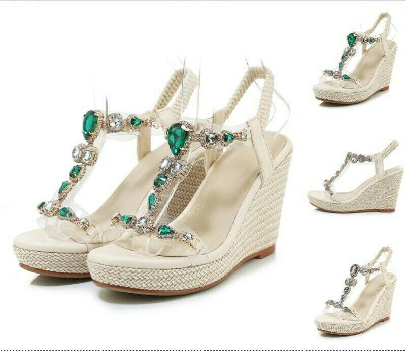 Bohemia donna Wedge Heel Rhinestone Sandals Open Toe Platfrom scarpe Roman Party