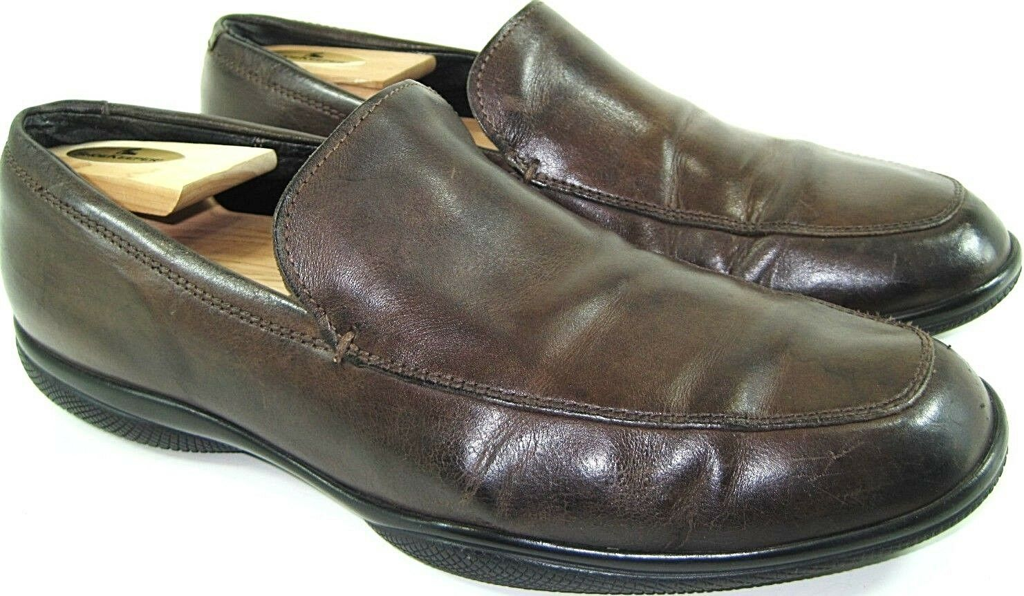 Banana Republic Men Leather Loafer Shoes Size 9.5 D Brown Leather Lined Non-Slip