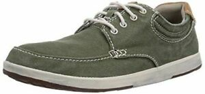 18a9b4f1f470 Clarks Mens Norwin Vibe Olive Green Canvas Lace Up Sneakers Shoes