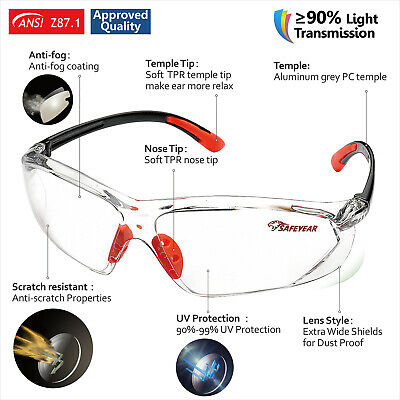 SAFEYEAR Safety Goggles Over Glasses Anti-dust Anti-fog Clear Lens Universal Fit