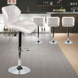 Brilliant Details About 4Pc Counter Height Leather Bar Stools Adjustable Swivel Pub Dining Chairs White Caraccident5 Cool Chair Designs And Ideas Caraccident5Info