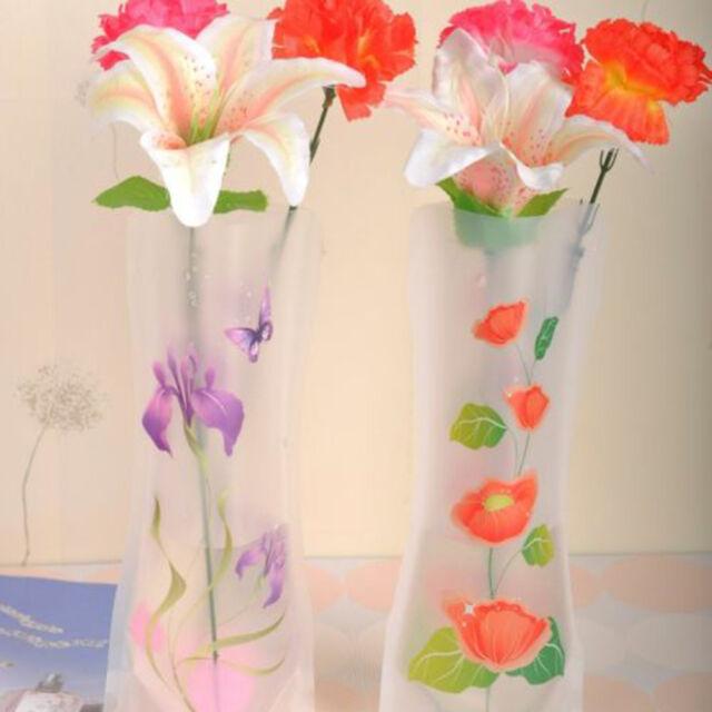 Color Random 2X Foldable Plastic Unbreakable Reusable Flower Home Decor Vase MO