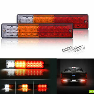MICTUNING Truck Trailer RV Tail Lights Bar DC 10-30V Super Bright Red-Amber-White Turn Signal Reverse Brake Running Lamp 2 Pack