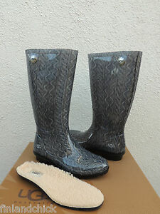 37057f02493 Image is loading UGG-TALL-GREY-SHAYE-CABLE-KNIT-RUBBER-RAIN-