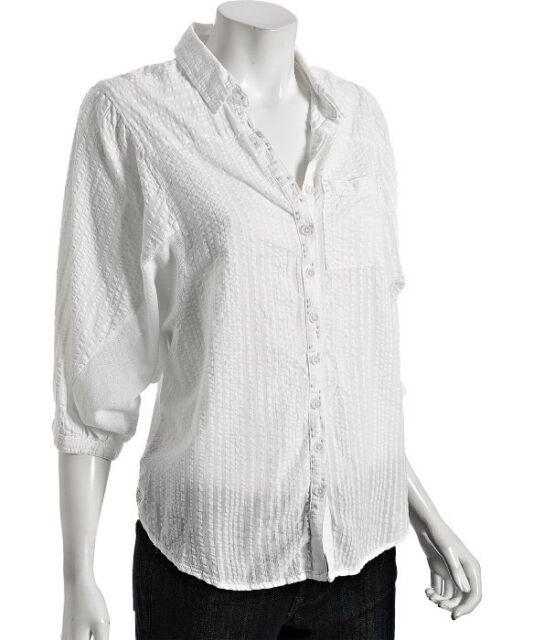 1501 Free People White Seersucker Cotton Button Front Shirt