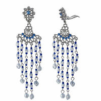 Silvertone Clip On Chandelier Earrings With Blue And White Hanging Beads