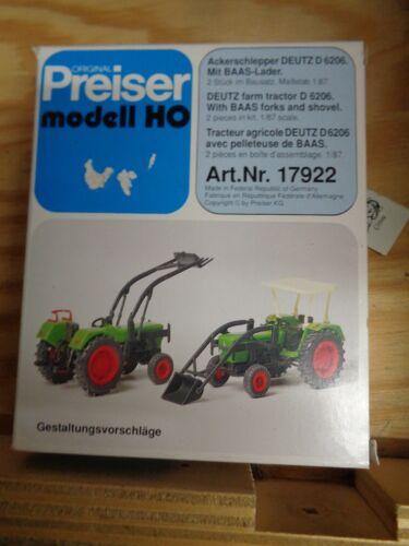 Preiser h0 17922 TRATTORINI agricoli Deutz D 6206 SCATOLA ORIGINALE KIT con Baas-caricatrici