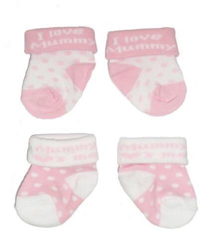 3 Sizes 2 x Pairs Pink Baby Girls Cute I LOVE MUMMY//MUMMY LOVES ME Socks