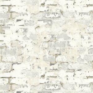Wallpaper-Designer-White-Taupe-Gray-Faux-Stucco-Brick