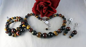 NWOT-QVC-Glass-Tigers-Eye-Necklace-Bracelet-amp-Earrings-Set-CAT-RESCUE