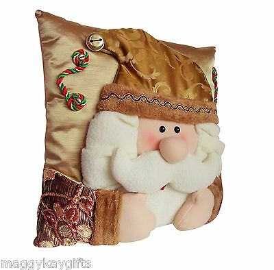 """Luxury Christmas Cushion - Gold & Cream Santa 16"""" Novelty Decoration Xmas"""