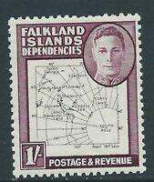 FALKLAND IS.DEP. SGG16 1948 1/= BLACK & PURPLE THIN MAPS MTD MINT