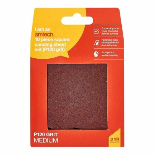 Punched Hook /& Loop Sanding Square Sheet Multisurface 110mm Pack Of 10 P120 Grit