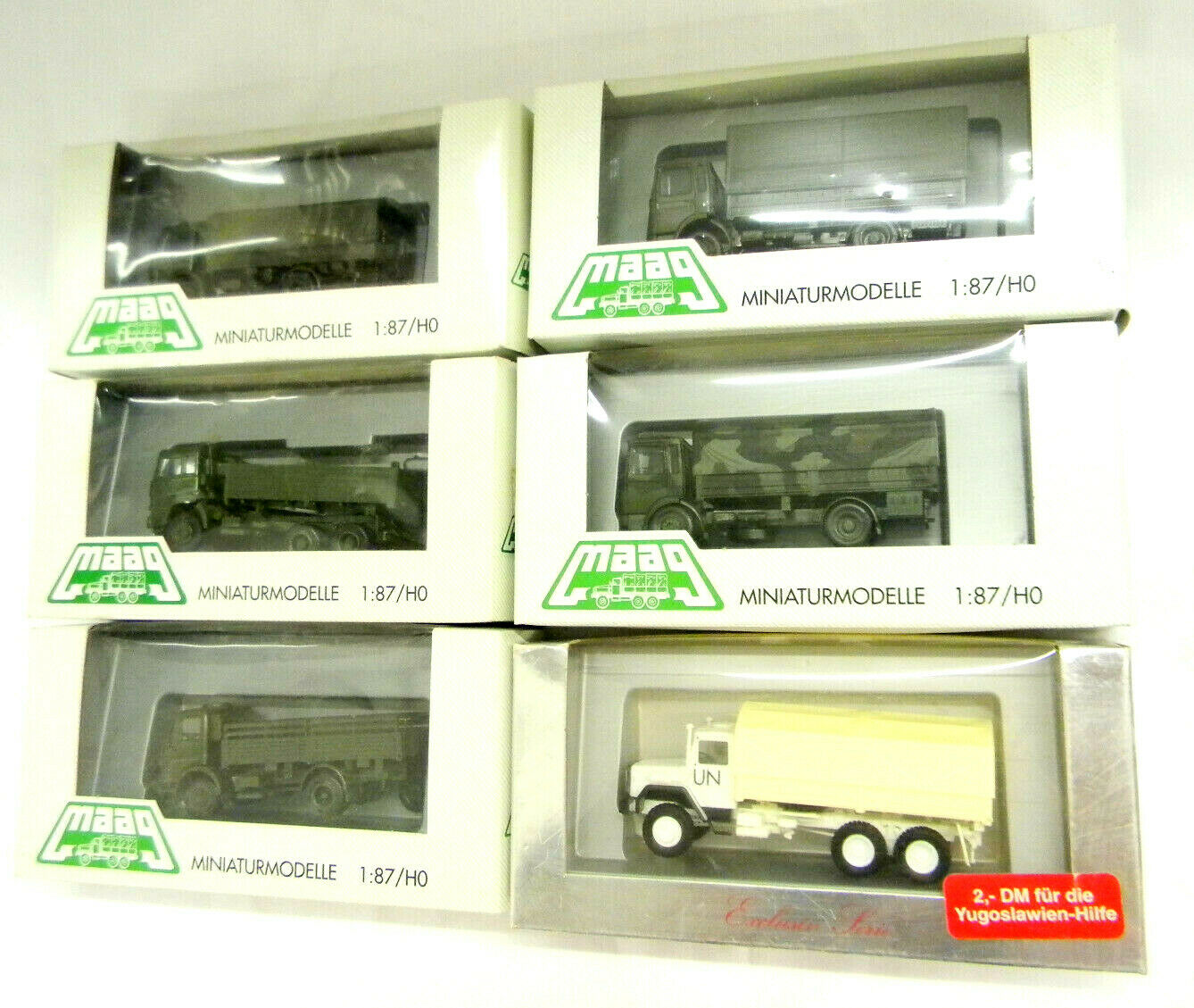 6x Herpa Maag 7400 Mercedes MB ejército alemán BW militar guardia fronteriza onu camiones 1 87 h0