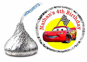 108 DISNEY CARS BIRTHDAY PARTY FAVORS HERSHEY KISS LABELS eBay