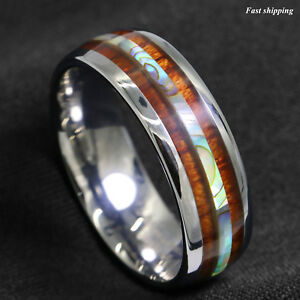 Image Is Loading 8 6mm Tungsten Carbide Ring Koa Wood Abalone