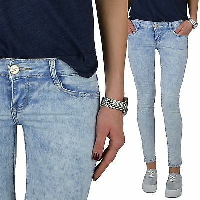 Damen Jeans helle Waschung Acid Hüfthose Hose Denim hellblau LowWaist Gr.XS-XL