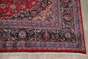 Hand-Knotted-Oriental-RED-Area-Rug-10x13-Floral-Kashmar-Dining-Room-Wool-Carpet