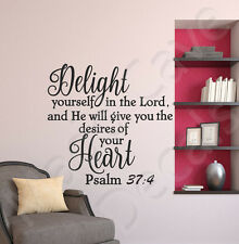 Delight Yourself in the Lord Psalm 37:4 God Wall Decal Vinyl Art Quote Decor R25