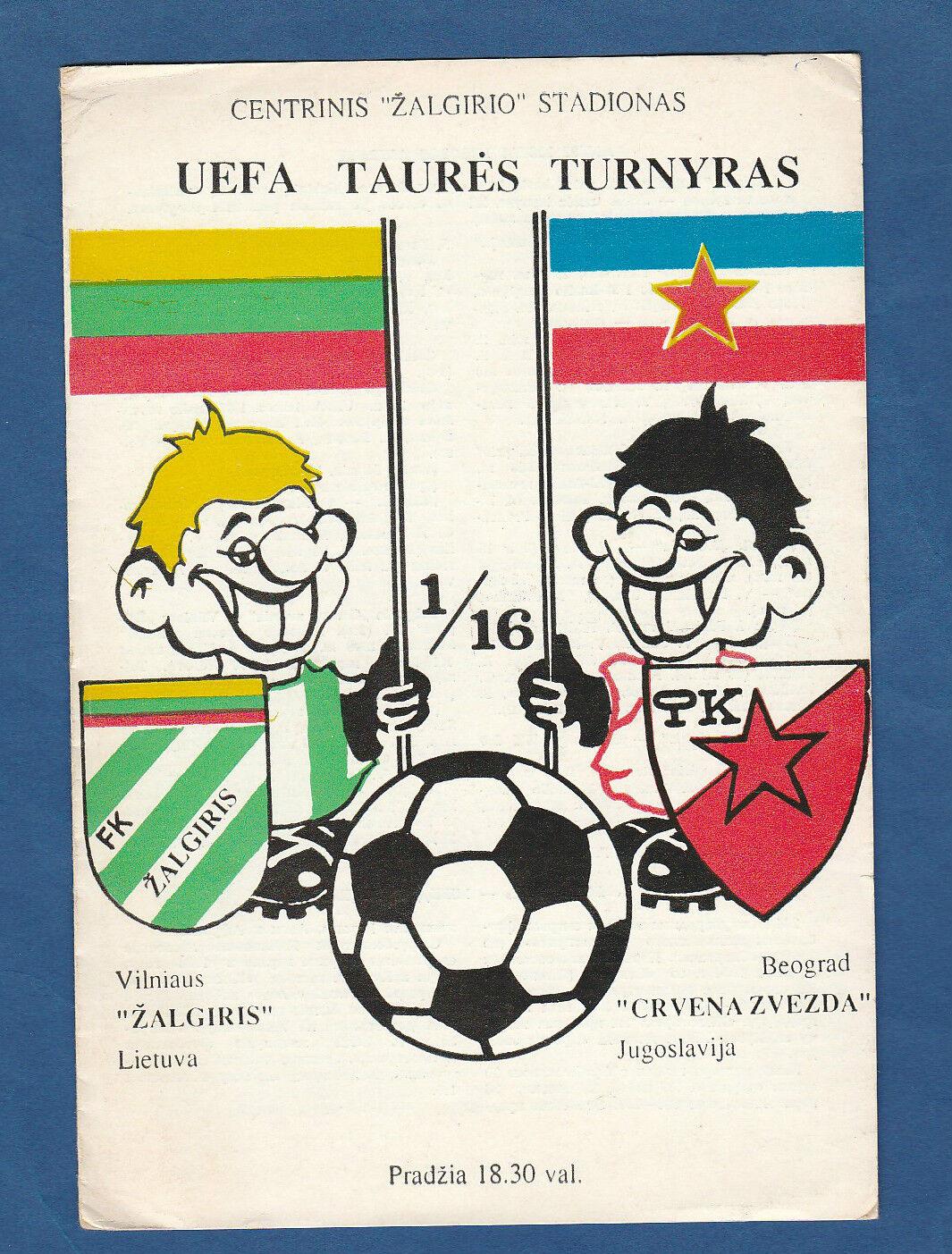 Orig.PRG   UEFA Cup  1989 90   ZALGIRIS VILNIUS - ROTER STERN BELGRAD   A    Jeder beschriebene Artikel ist verfügbar