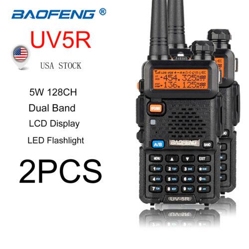 2x Baofeng UV-5R Walkie Talkie Dual Band 5W 128CH VOX 2-Way Radio With Earpiece